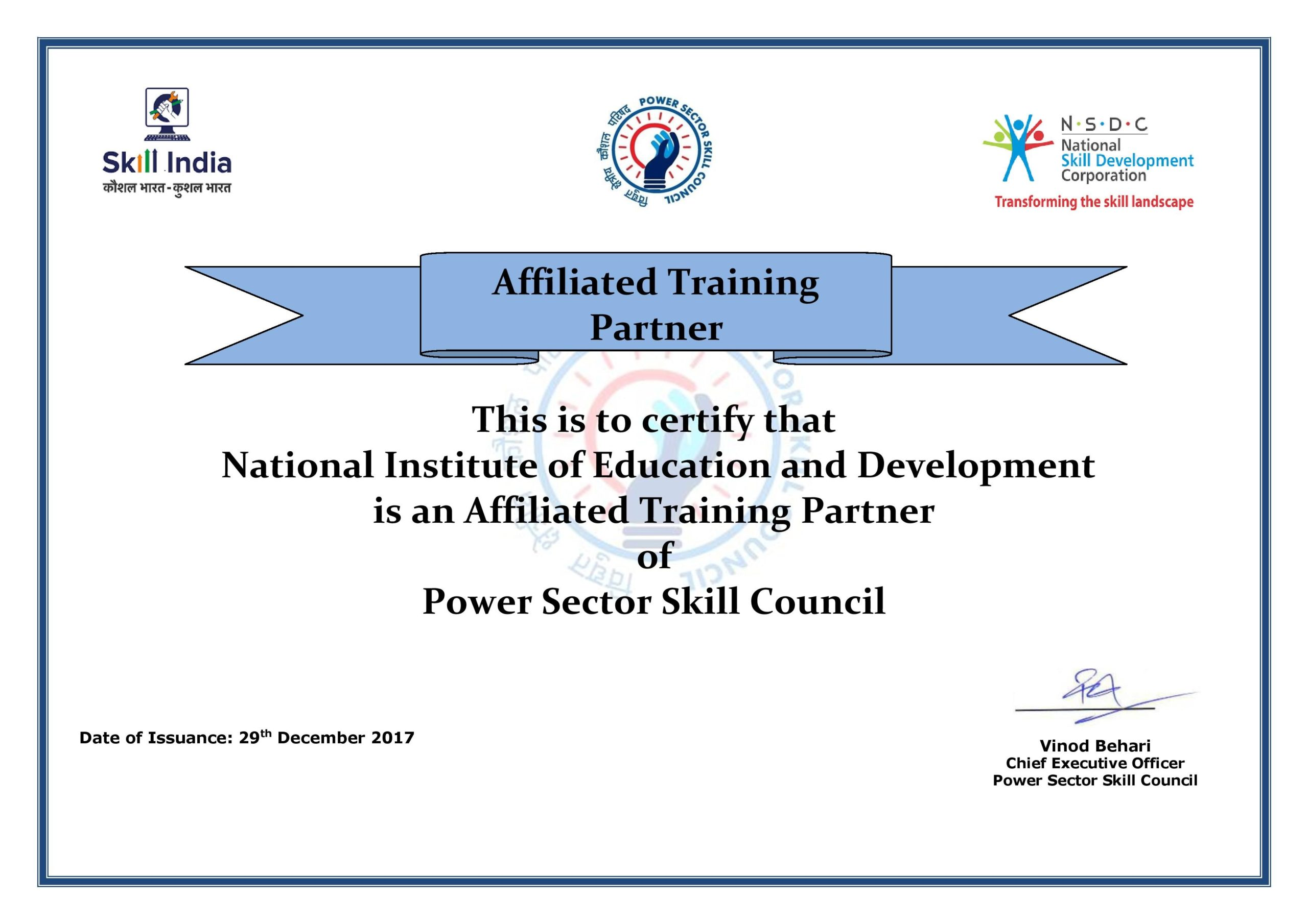 PSSC Affiliation Training Partner