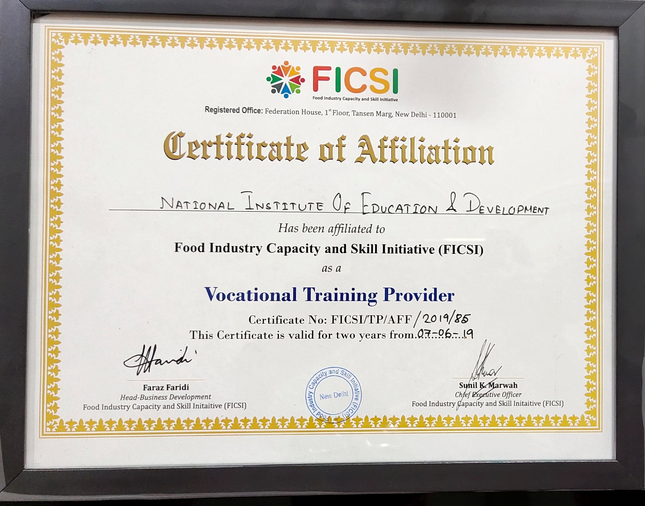 FICSI Certificate of Affiliation