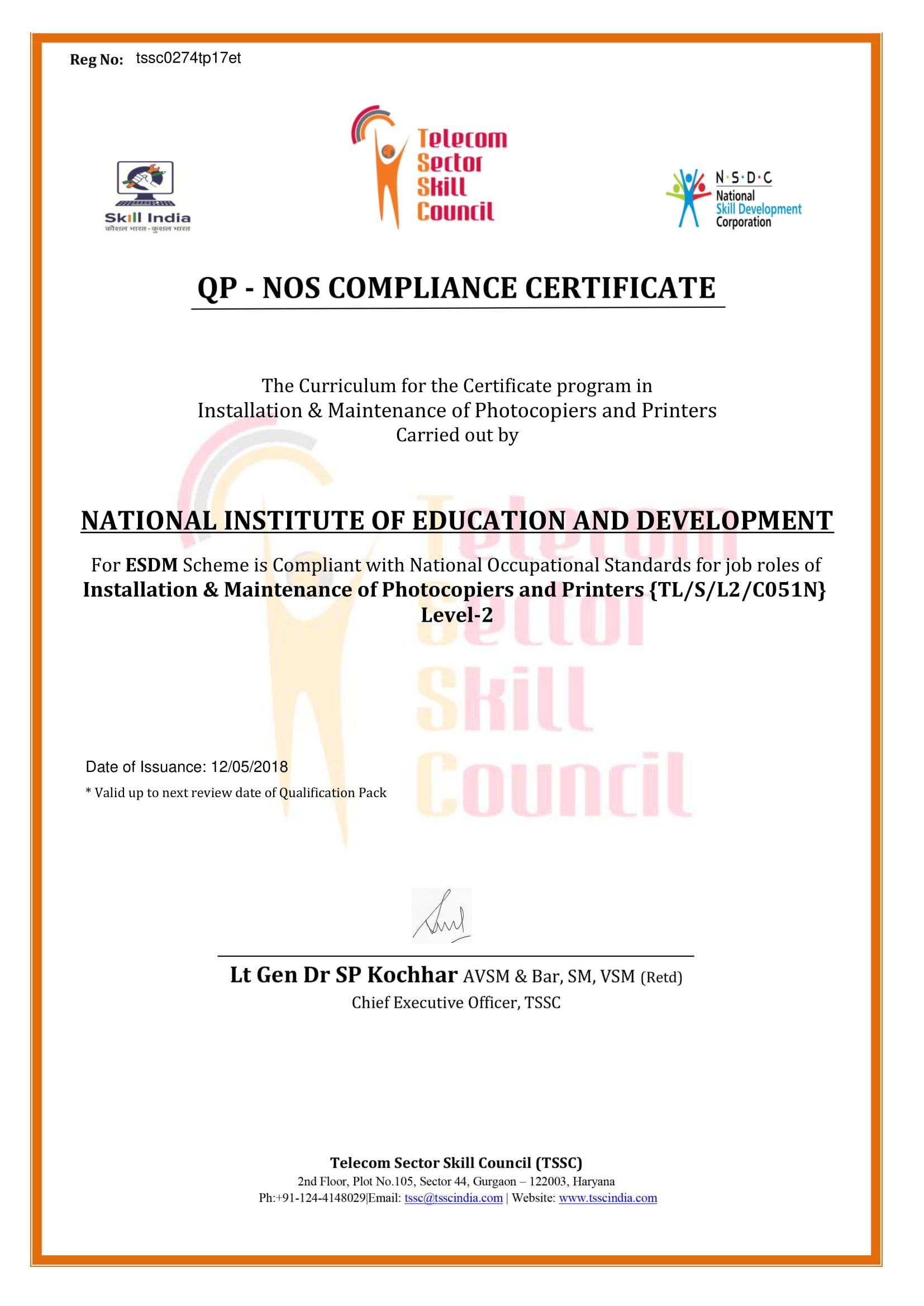 TSSC Certificate